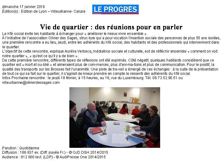 Le progrès Villeurbanne 17.01.16